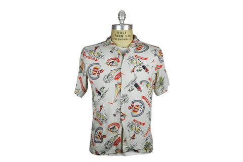 Vintage Jamaica Print Camp Shirt (Multi Color)