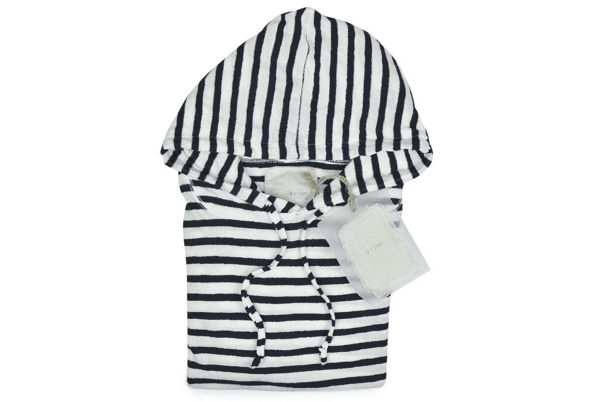V: : Room-Cotton Crepe Jacquard Hoodie (White + Navy)