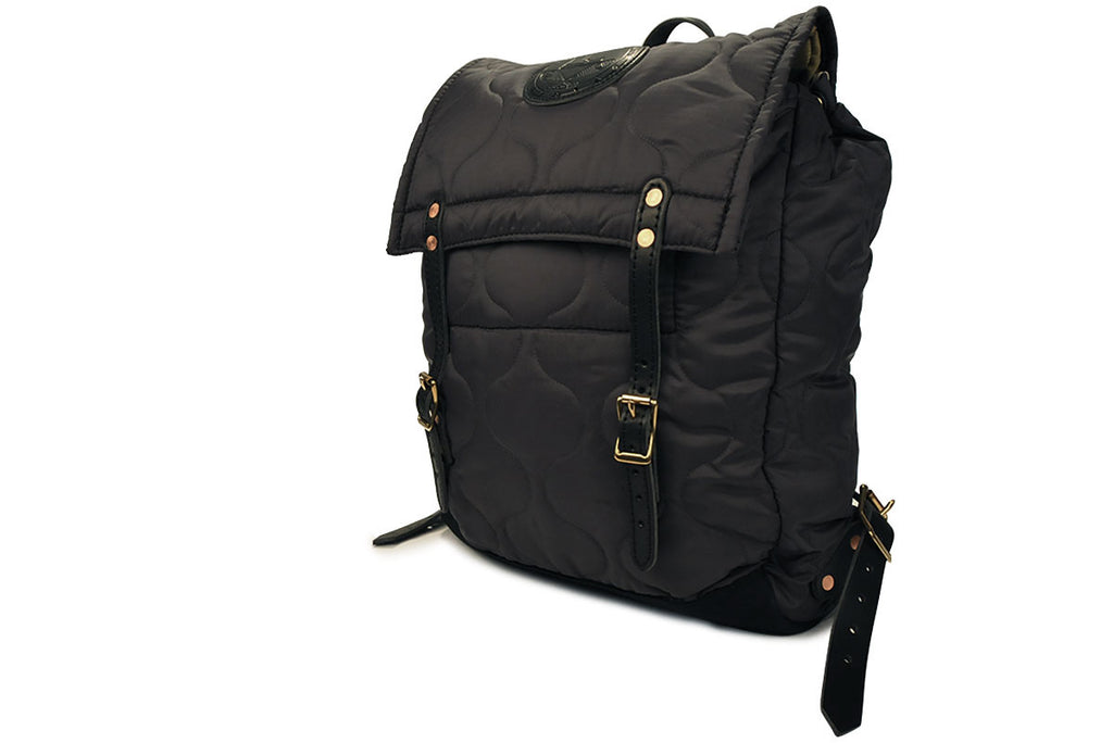 YUKETEN-Quilted Canoe Backpack (Black)