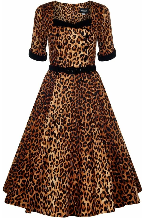 Collectif Quinn Kjole Leopard/sort
