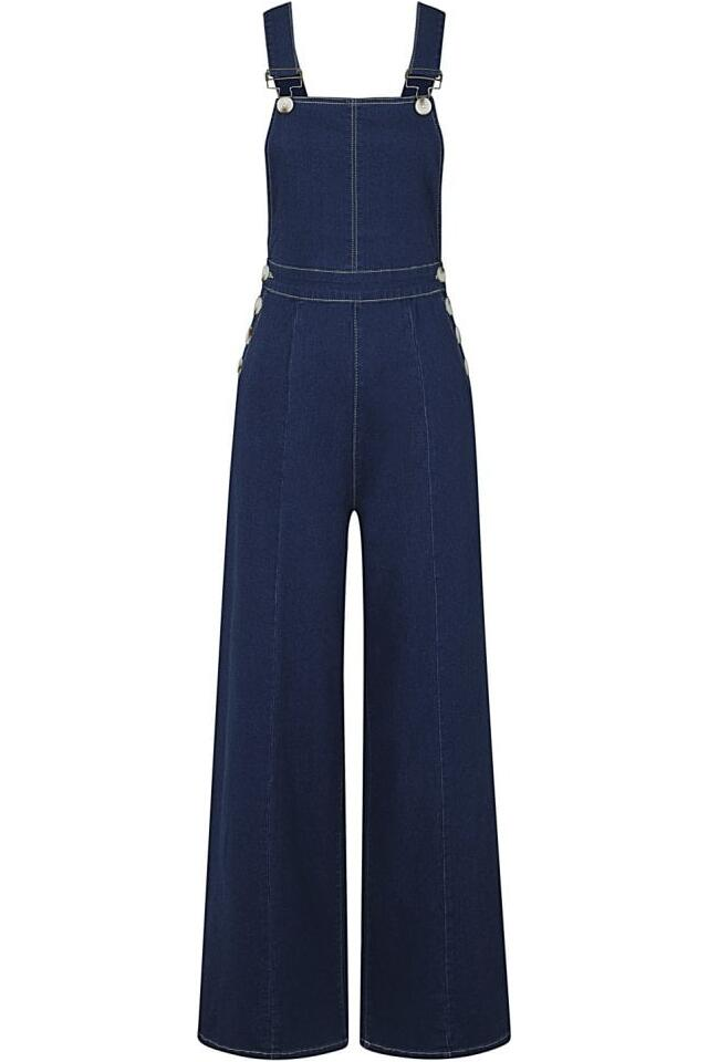Collectif Bukser Thelma denim dungarees blå