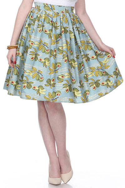 Bettie Page Clothing 50-talls Ellie Swingskjørt avocado print