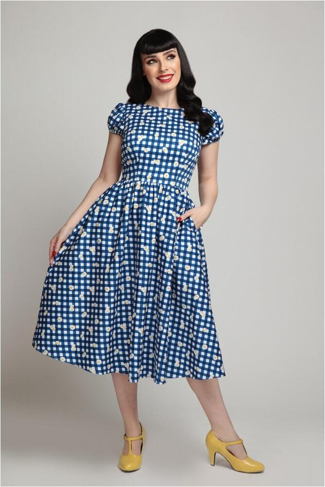 Collectif Swingkjole Demira gingham Daisy blå