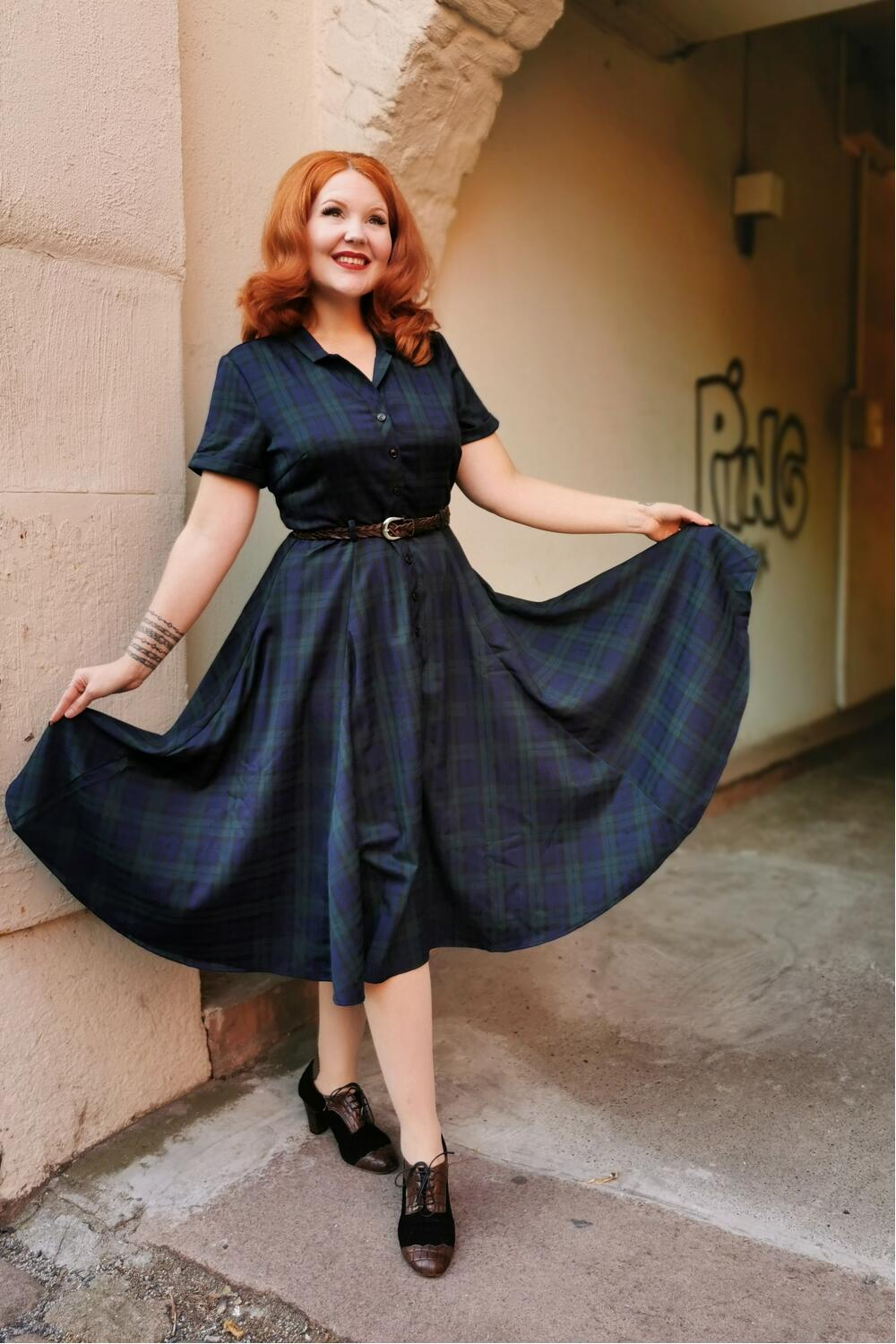 Collectif Swingkjole 50-talls Caterina blackwatch sort
