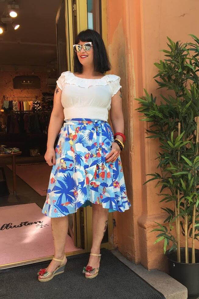 Collectif Swingskjørt Blue Hawaii blå
