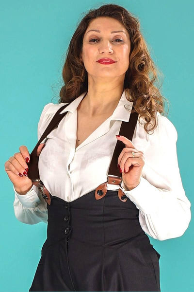Emmy Sassy Suspenders Sort/Brun