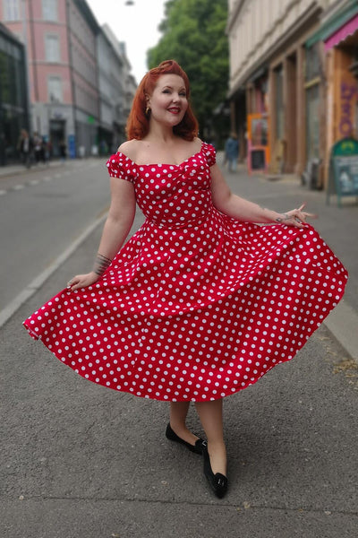 Collectif Dolores Doll polkadot swingkjole rød hvit