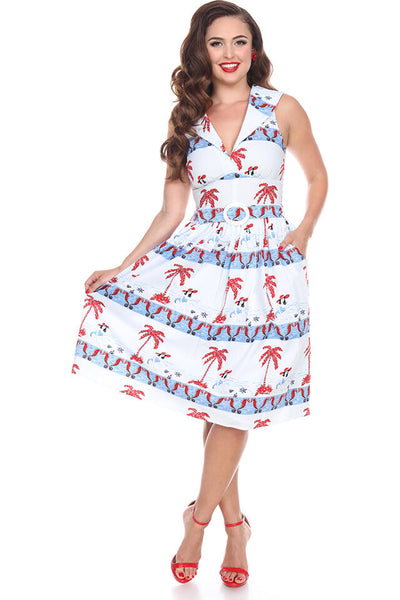 Bettie Page Clothing Betty by the bay Sommerkjole Hvit/Blå/Rød