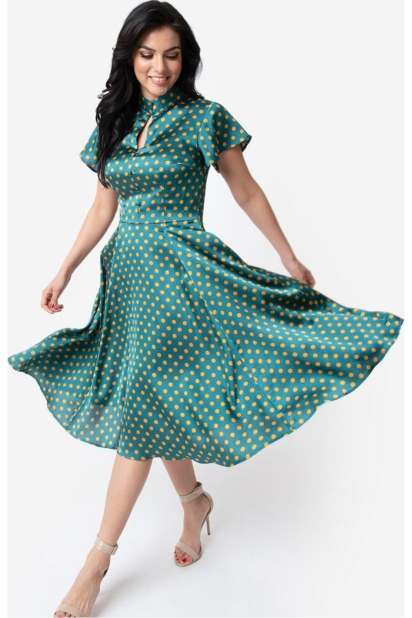 Unique Vintage Swingkjole Baltimore Polkadot grønn