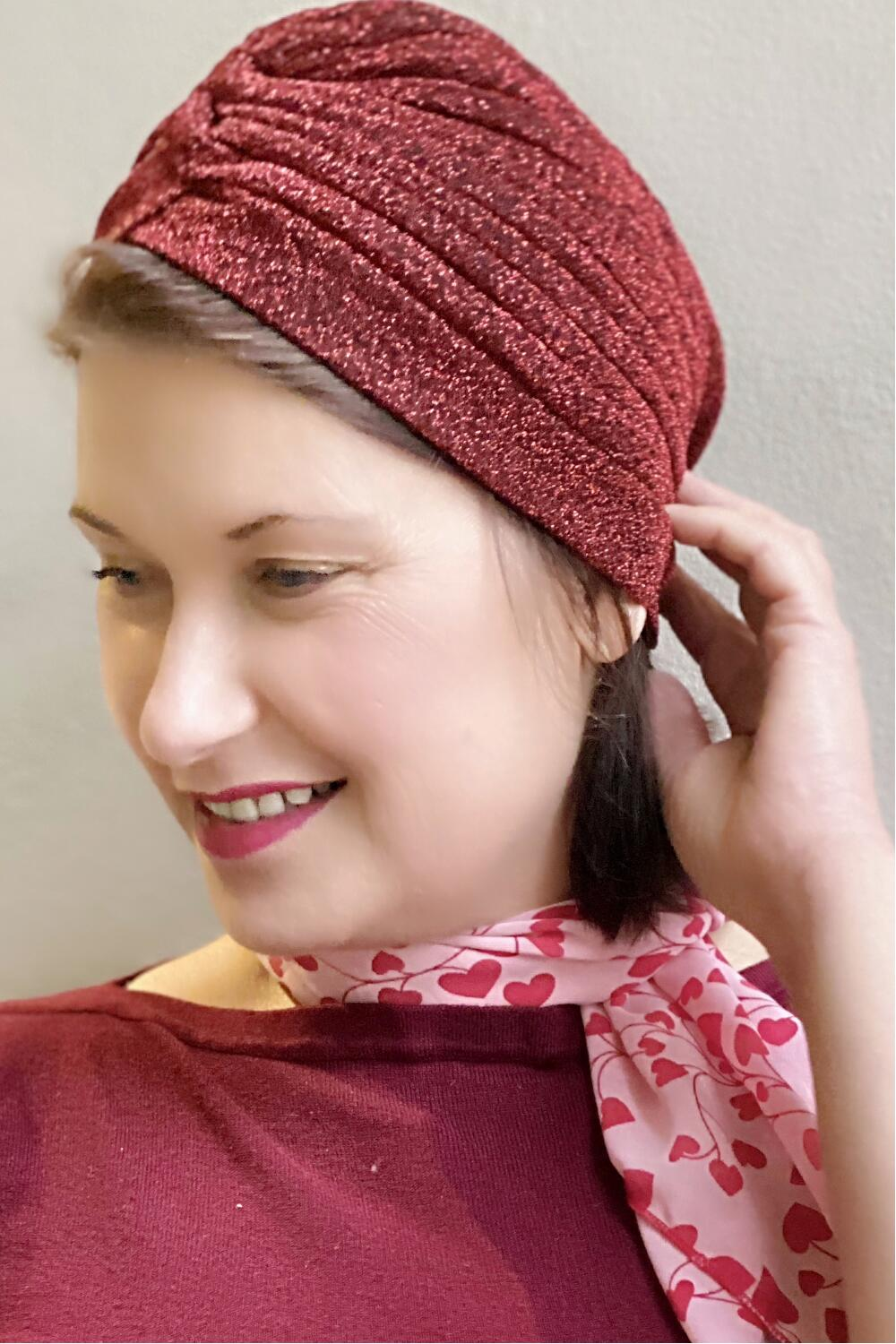 Collectif Turban Raina lurex burgunderrød