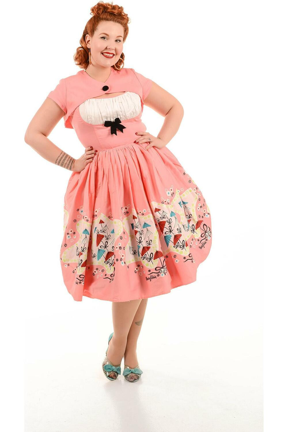 Pinup Girl Clothing Evelyn Umbrellas Kjole Rosa/hvit