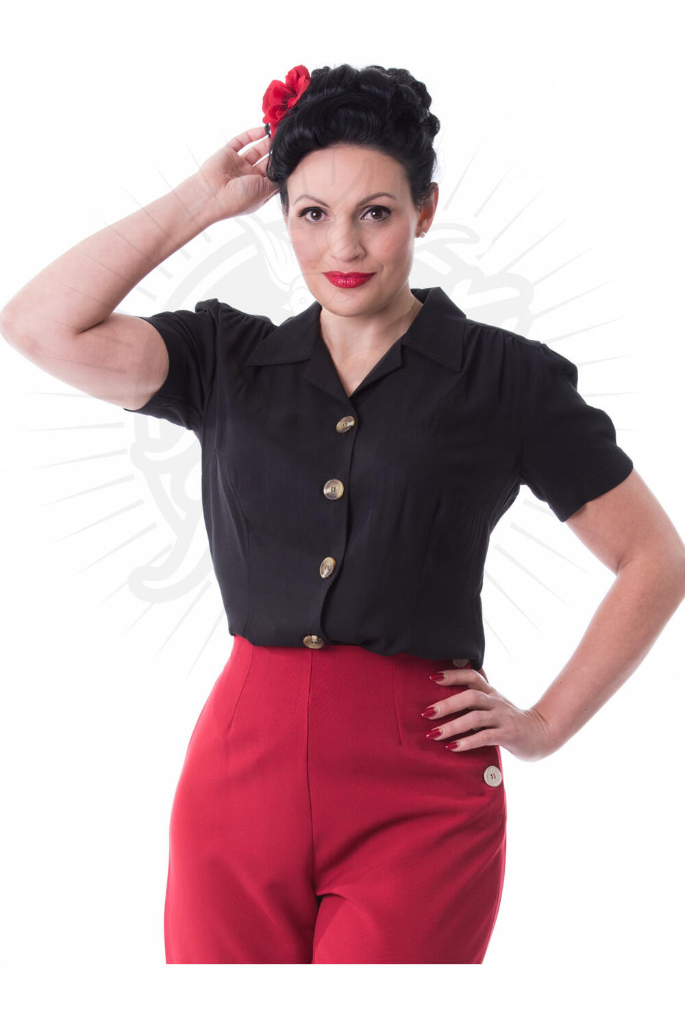 Pretty Retro Pretty 40-talls bluse sort