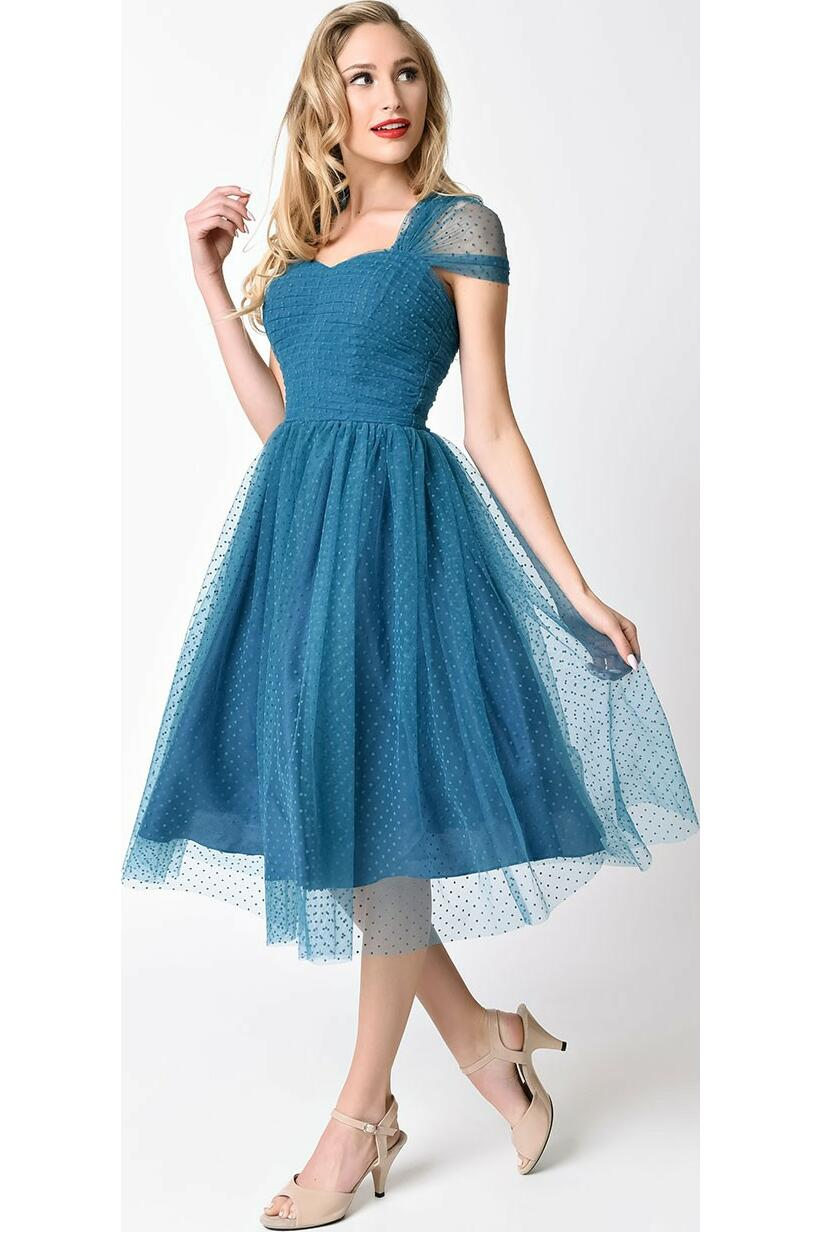 Unique Vintage Garden state mesh dress Teal
