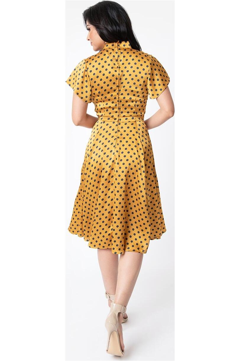 Unique Vintage Swingkjole Baltimore Polkadot sennep