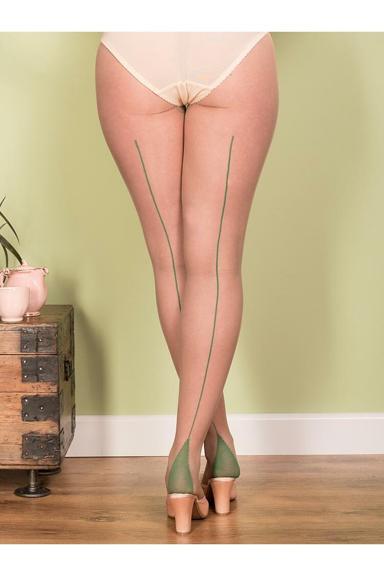 What Katie Did Retro seamed tights Nude/green