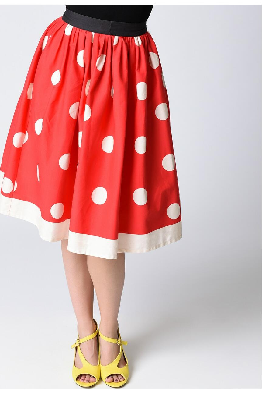 Unique Vintage Minnie Swingskjørt Rød/sort/hvit