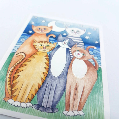 "Mini Happy Cats Print - ACEO Size - 2.5""x3.5"""