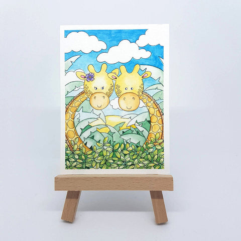 "Mini Up High Giraffe Print - ACEO Size - 2.5""x3.5"""
