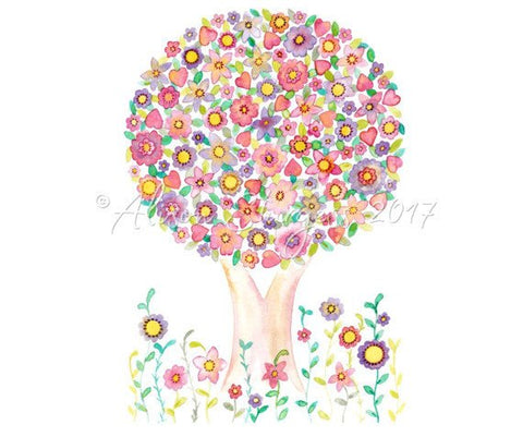 Tree Love Flower Colourful Reproduction Print