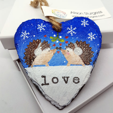 Hedgehog Slate Hanger - Gift of Love - Hand Painted - Decoration