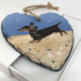 Smooth Haired Dachshund Slate Hanger  - Hand Painted