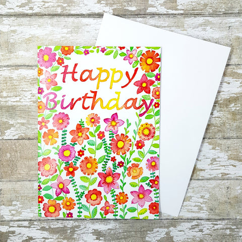 Happy Birthday Card - Birthday Card - Floral Birthday Card
