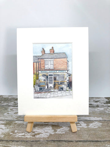 Windy Corner Stores Whitstable - Whitstable Print - Small Print Mounted With Wooden Display Stand