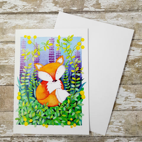 Mr Fox Greetings Card  - Fox Birthday Card - Fox Art - Fox Painting - Fox Print - Birthday Card
