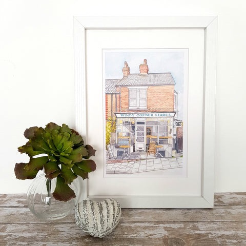 Windy Corner Stores, Whitstable - Print of Original Watercolour