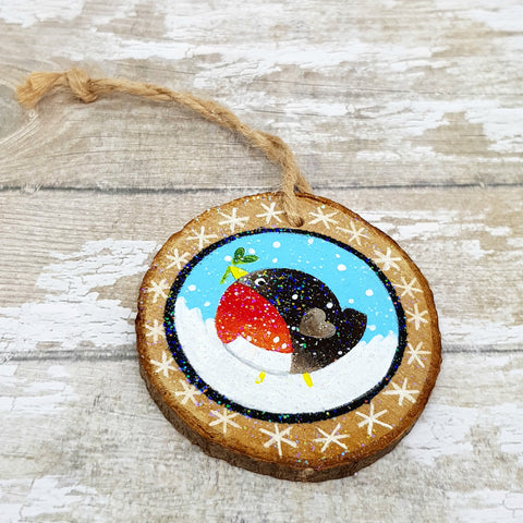 Robin Wooden Hanger - Hand Painted Robin Bauble