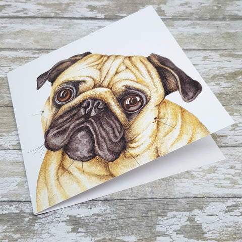 Pug Greetings Card - Pug Art Card