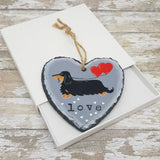 Dachshund Slate Hanger - Hand Painted - Decoration