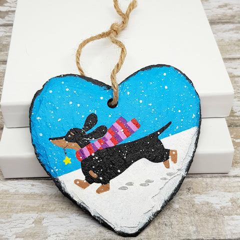 Dachshund Christmas Decoration - Sausage Dog Slate