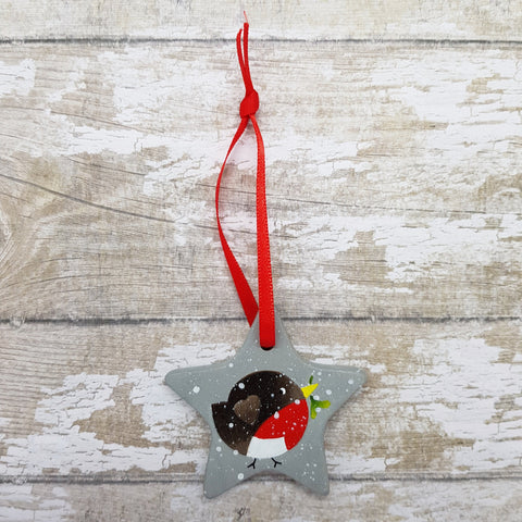Robin Decoration - Hand Painted Ceramic Star - Robin Art