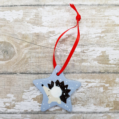 Hedgehog Decoration - Hand Painted Ceramic Star - Hedgehog Art