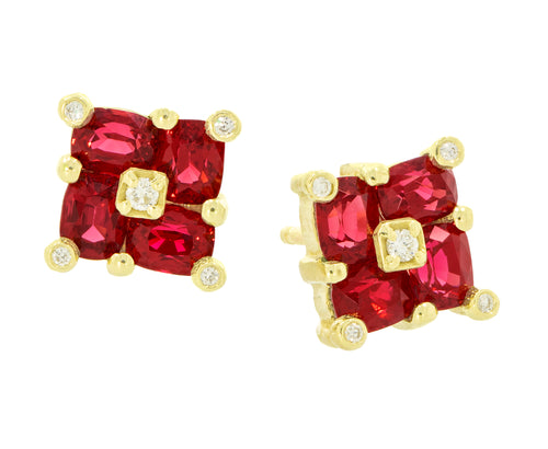 Red Spinel Mosaic Studs