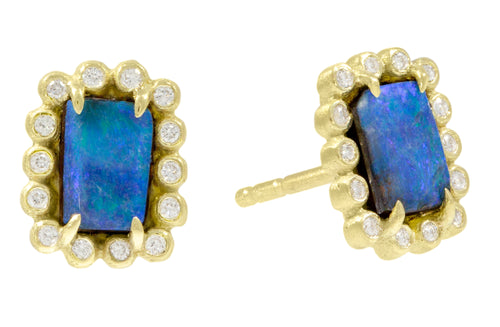 Opal and Diamond Stud Earrings