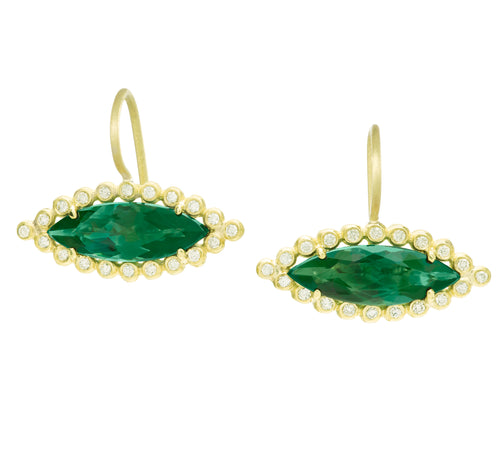 Green Tourmaline Marquis Drop Earrings
