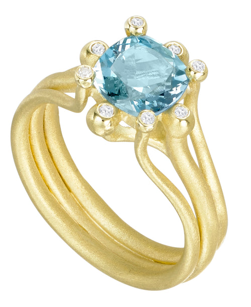 Aquamarine Firecracker RIng