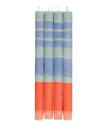 "BCS Striped 10"" Taper Candles - Opaline, Pompadour & Rust, Set Of 4"