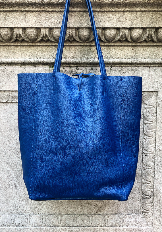 Cobalt Grained Leather Tote Bag