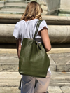 Olive Grained Leather Tote Bag