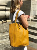 Mustard Grained Leather Tote