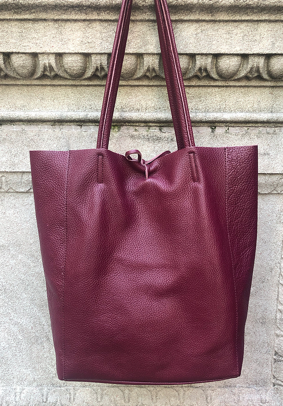Wine Grained Leather Tote