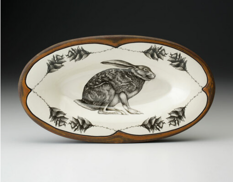 Crouching Hare Oblong Serving Dish