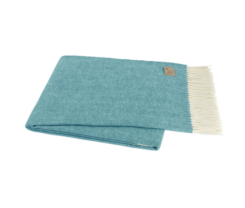 Italian Herringbone Throw in Teal
