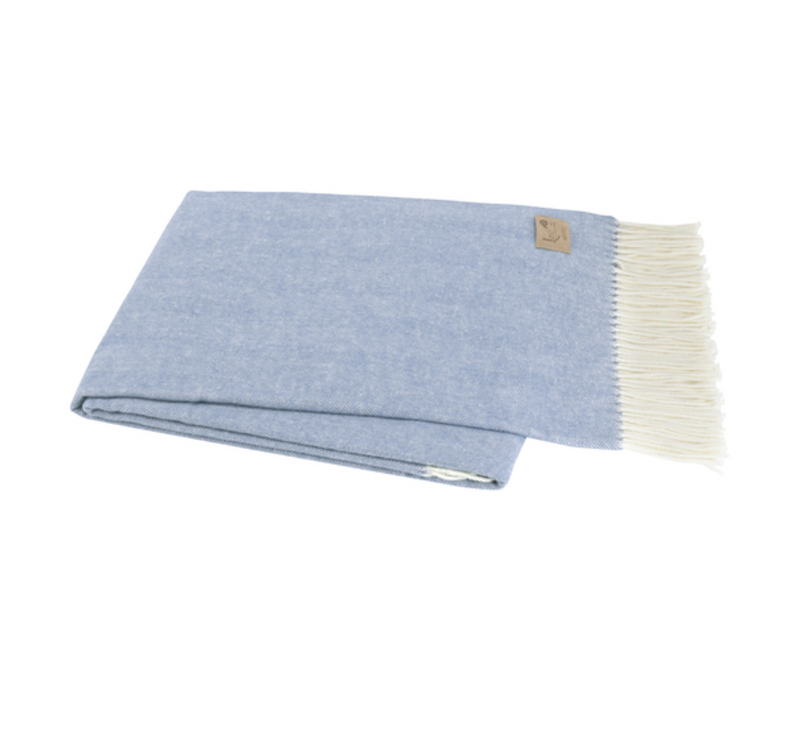Italian Herringbone Throw in Chambray