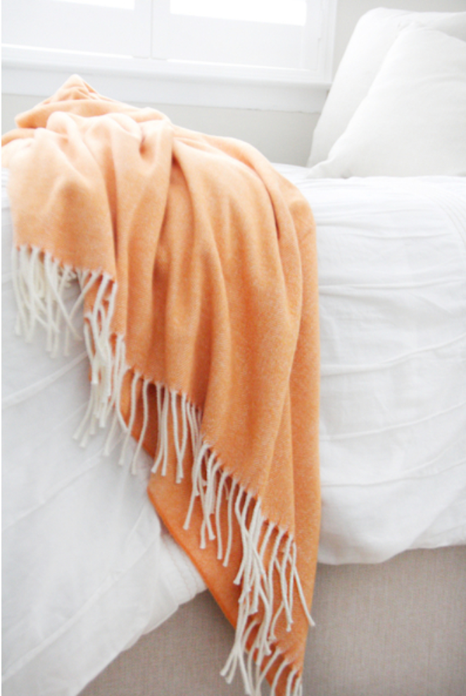 Italian Herringbone Throw in Mango