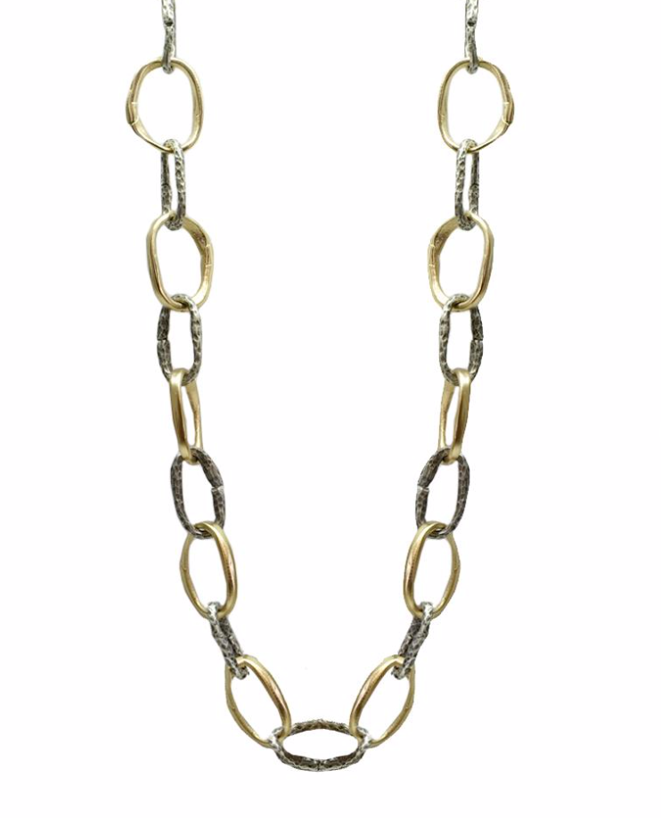 Two-Tone Loop Link Necklace
