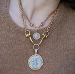 Gold Mini Coin and Horsebit Necklace